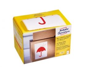 , Waarschuwings etiket Avery `Keep dry`  op rol in dispenser  74x100mm