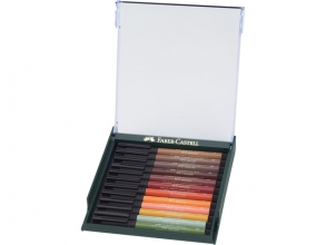 , tekenstift Faber-Castell Pitt Artist Pen Brush set 12 stuks Earth Tones