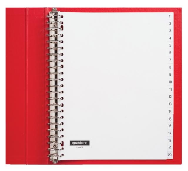 ,Tabbladen Quantore 23-gaats 1-20 genummerd wit PP