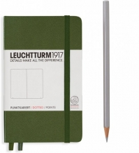 Lt348099 Leuchtturm notitieboek pocket 90x150 dots / bullets legergroen