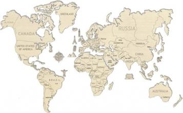 Wereld kaart in hout XXL