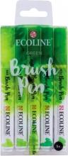 , Brushpen Talens Ecoline set-groen blister à 5 stuks ass