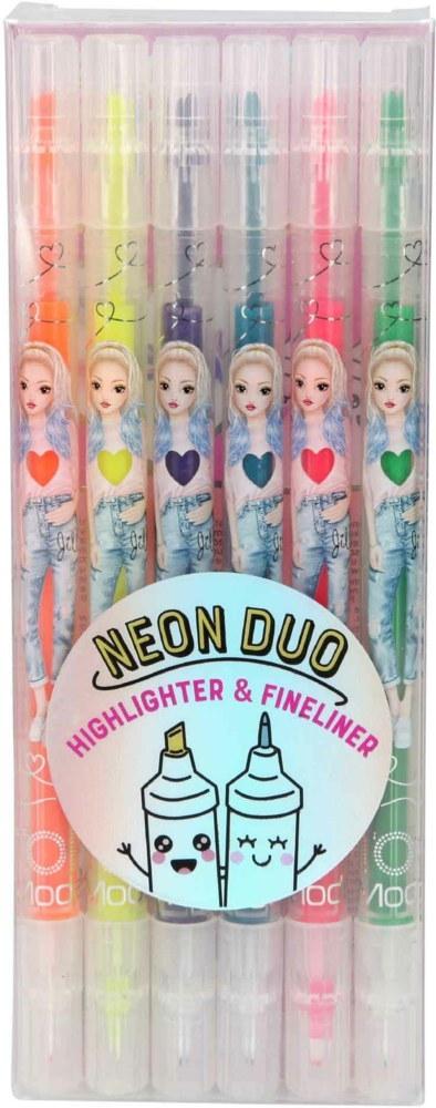 ,Topmodel neon markers met dubbele punt