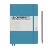 <b>Lt354584</b>,Leuchtturm notitieboek medium 145x210 lijn nordic blauw