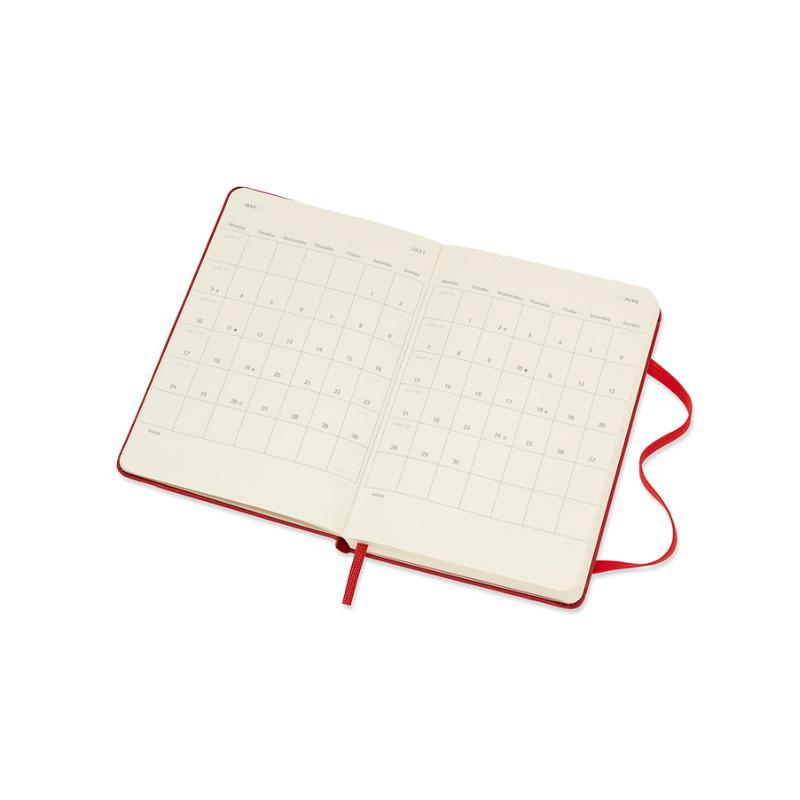 ,Moleskine 18 MND Agenda - 2020/21 - Wekelijks - Pocket (9x14 cm) - Scarlet Red - Harde Kaft