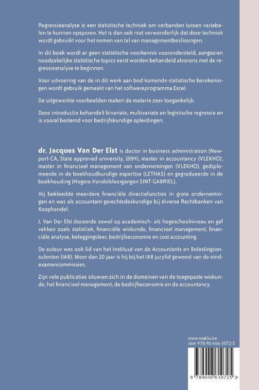 Jacques Van Der Elst,Regressieanalyse