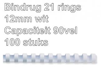 , Bindrug Fellowes 12mm 21rings A4 wit 100stuks