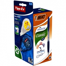 , Balpen BIC Atlantis 0.32mm bauw + gratis Tipp-Ex easy doos à 12