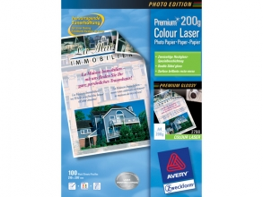 , kleurenlaserpapier Avery A4 wit 200gr doos a 100 vel