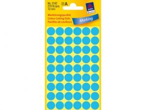 , Etiket Avery Zweckform 3142 rond 12mm blauw 270stuks
