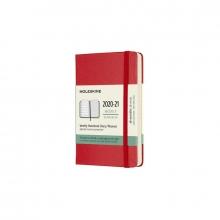 , Moleskine 18 MND Agenda - 2020/21 - Wekelijks - Pocket (9x14 cm) - Scarlet Red - Harde Kaft