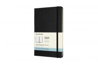 , Moleskine 12 MND Agenda - 2021 - Maandelijks - Large (13x21 cm) - Zwart - Harde Kaft