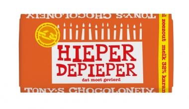, Chocolade Tony`s Chocolonely reep 180gr melk karamel zeezout Hieper de pieper