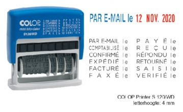 , Woord-datumstempel Colop S120 mini-info dater 4mm frans