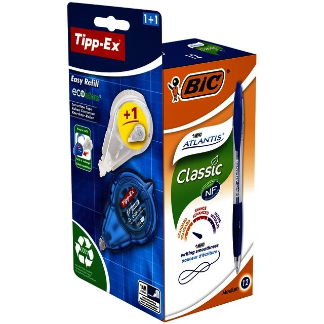,Balpen BIC Atlantis 0.32mm bauw + gratis Tipp-Ex easy doos à 12
