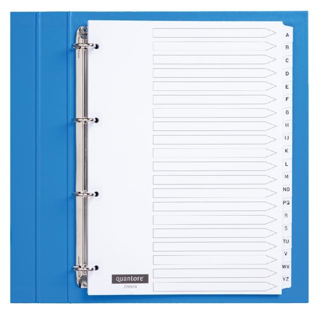 ,Tabbladen Quantore 4-gaats 20-delig met alfabet wit karton
