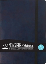Monsieur Notebook Navy Leather Plain Medium