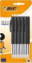 , Balpen Bic M10 zwart medium blister à 10 stuks