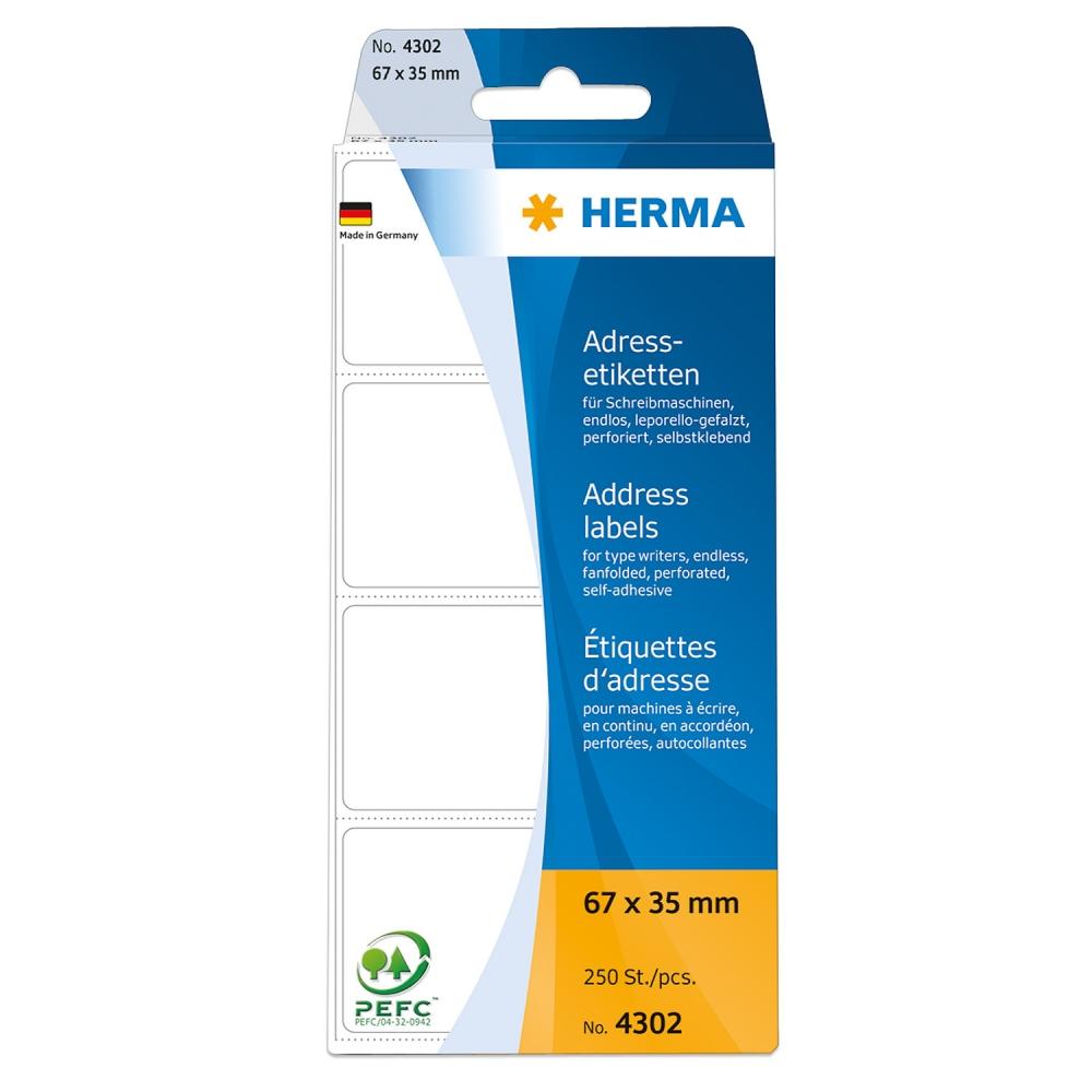 ,Etiket Herma adres 4302 67x35mm 250stuks zig-zag