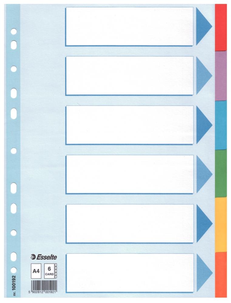 ,Tabbladen Esselte A4 11R karton 6-delig met voorblad