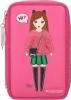 ,<b>Topmodel 3-vaks etui, gevuld roze</b>