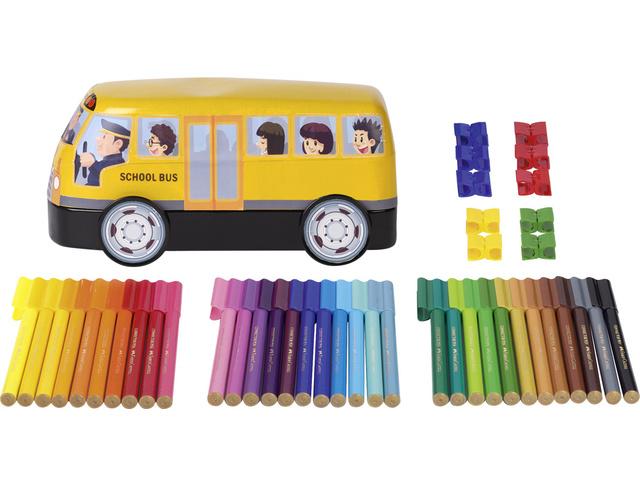 ,viltstiften Faber-Castell Connector 33 stuks met 10 clips   in `bus`