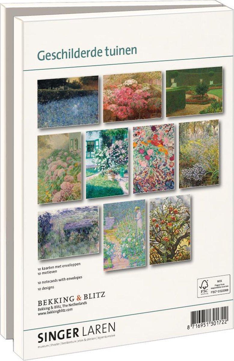 Lmc302,Notecard met env.  13x18 10 stuks geschilderde tuinen singer museum