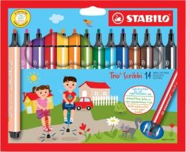 , Viltstift STABILO Scribbi 368 etui à 14 kleuren
