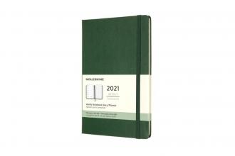 , Moleskine 12 MND Agenda - 2021 - Wekelijks - Large (13x21 cm) - Myrtle Groen - Harde Kaft