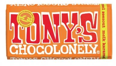 , Chocolade Tony`s Chocolonely reep 180gr melk karamel zeezout