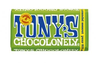 , Chocolade Tony`s Chocolonely reep 180gr puur amandel zeezout