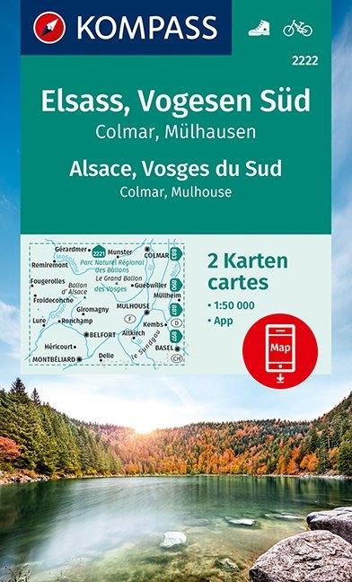 KOMPASS-Karten GmbH,KOMPASS Wanderkarte Elsass, Vogesen Süd, Alsace, Vosges du Sud, Colmar, Mülhausen, Mulhouse 1:50 000