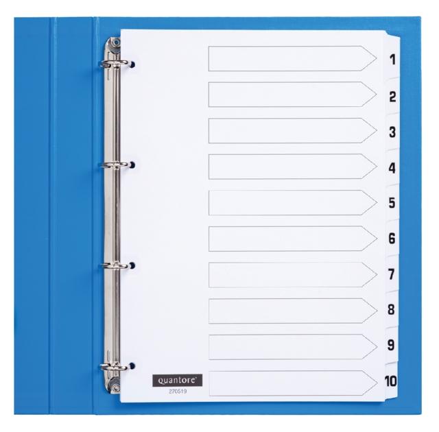 ,Tabbladen Quantore 4-gaats 1-10 genummerd wit karton