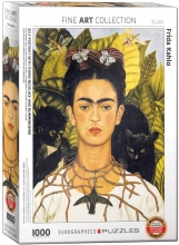 Eur-6000-0802 , Puzzel self portrait with thorn neclace and hummingbird - frida kahlo - 1000 st.