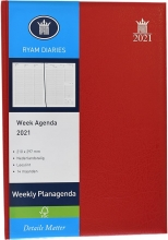 , Bureauagenda 2021 weekly 7dp kolommen mundior rood
