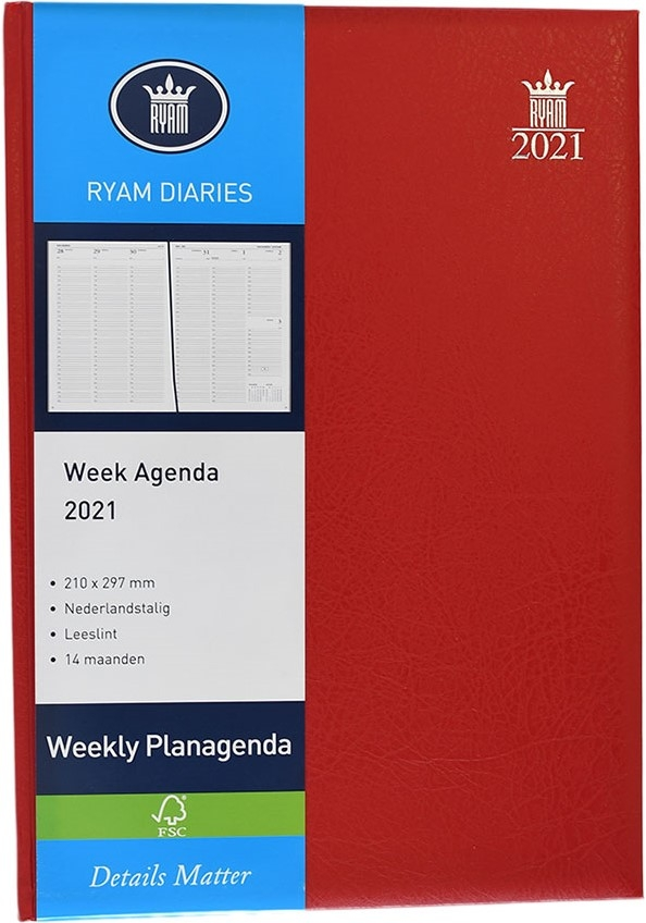 ,Bureauagenda 2021 weekly 7dp kolommen mundior rood