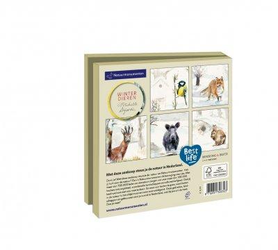 Wmc1014,Kerstkaart mapje 10 stuks met env natuurmonumenten dujardin winterdieren