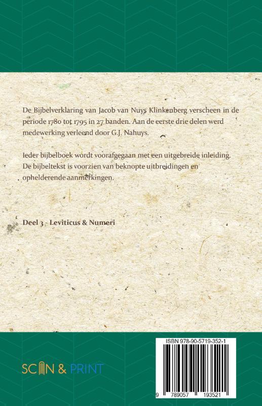 Jacob van Nuys Klinkenberg, G.J. Nahuys,Leviticus & Numeri