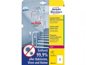 , Bedrukbaar antimicrobiëel etiket Zweckform 210x148mm,       transp. 20 etiketten, 10 vel, perm.