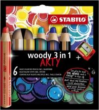 , Kleurpotloden STABILO Woody 8806-1-20 etui à 6 kleuren met puntenslijper