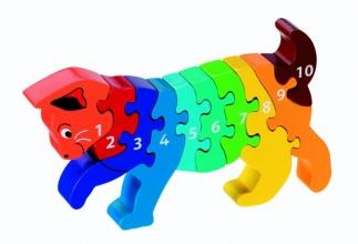 , Houten puzzel Kat - Leren tellen 1-10