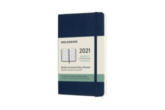 , Moleskine 12 MND Agenda - 2021 - Wekelijks Horiz. - Pocket (9x14 cm) Sapphire Blauw - Zachte Kaft