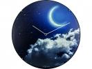 ,Wandklok NeXtime dia. 35 cm, bol glas, `New Moon dome`