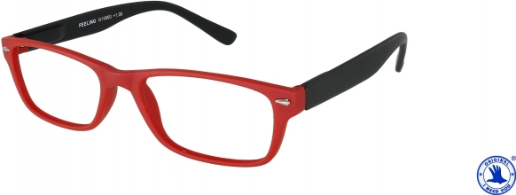 , Leesbril +2.00 Feeling rood-zwart