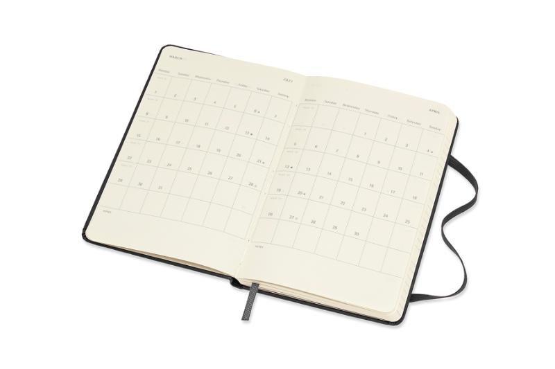 ,Moleskine 12 MND Agenda - 2021 - Wekelijks Horiz. - Pocket (9x14 cm) - Zwart - Harde Kaft