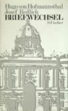 Hofmannsthal, Hugo von Briefwechsel Hofmannsthal Redlich