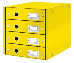 , Ladenbox Leitz WOW Click & Store 4 laden geel