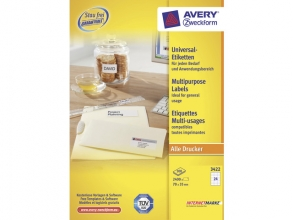 , etiket Avery ILK 70x35mm 100 vel 24 etiketten per vel wit