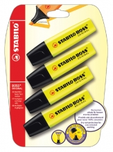 , Markeerstift STABILO Boss 70/24 geel blister à 4 stuks