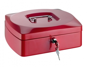 , geldkistje Alco 255x200x90mm staal rood